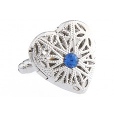 Manchetknoop - Medaillon met blauwe steen